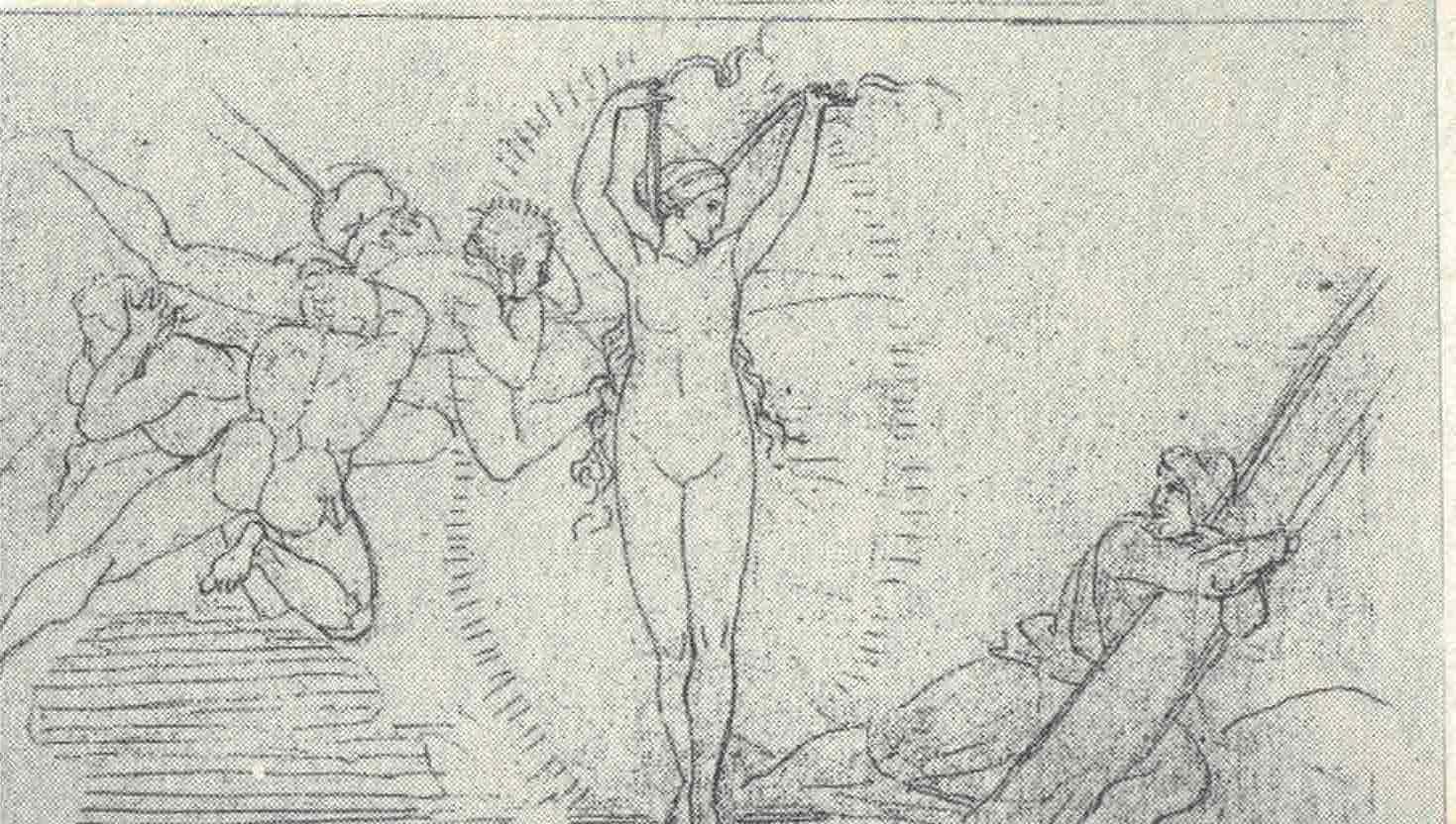 Figura 6 - John Flaxman. Leucotéia socorre Ulisses. Londres, Royal Academy