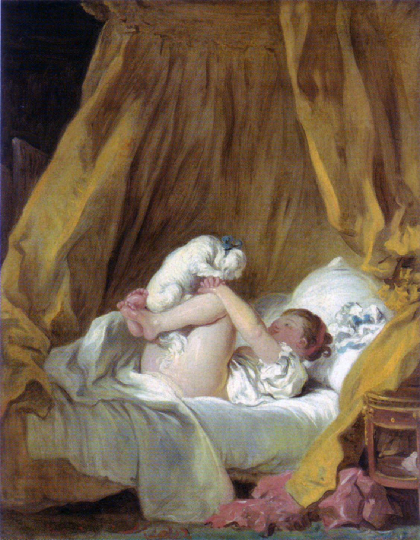 Figura 3 - Jean Honoré Fragonard, Jovem fazendo dançar seu cão na cama