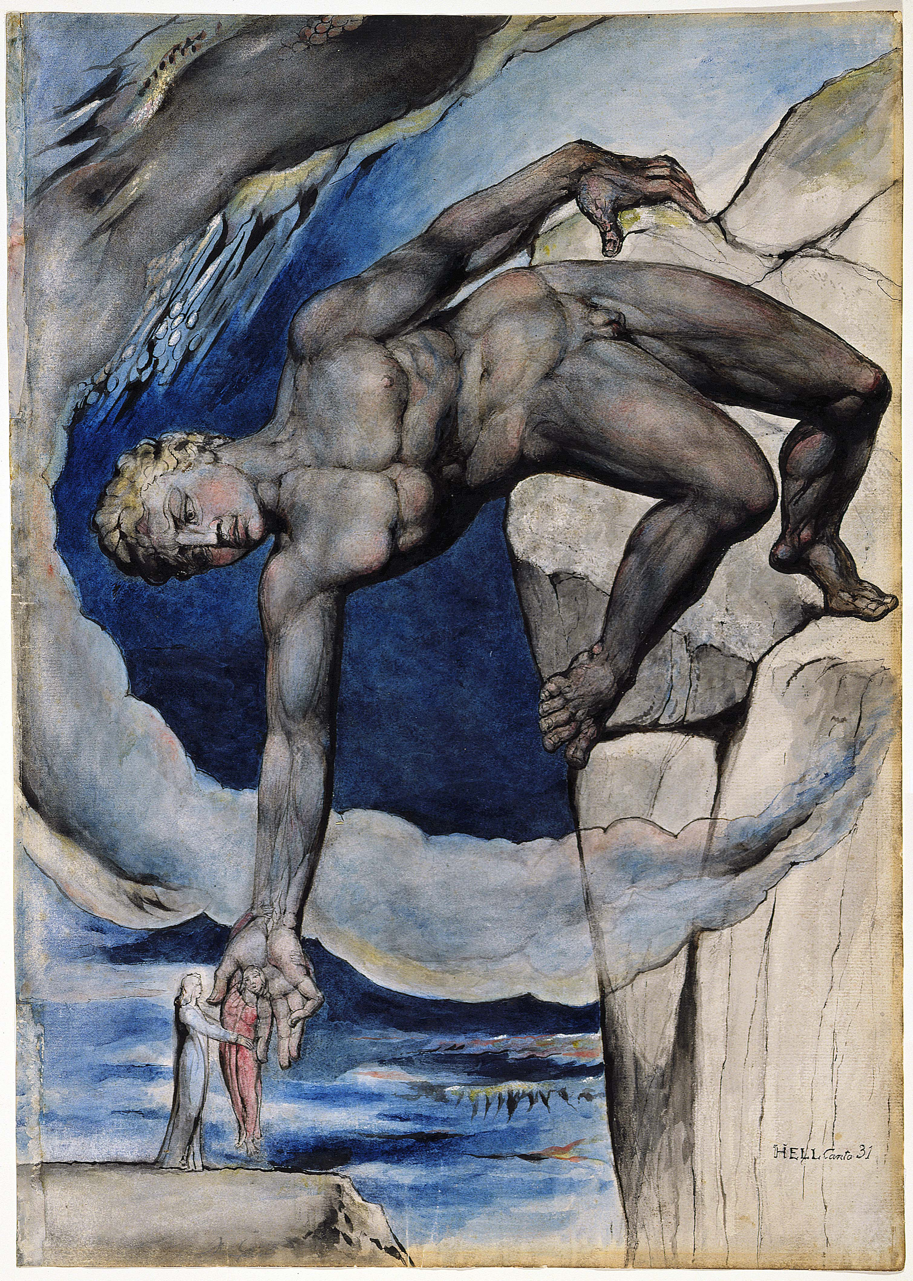 Figure 11 - William Blake, Anteu deposita Dante e Virgílio no último círculo do inferno
