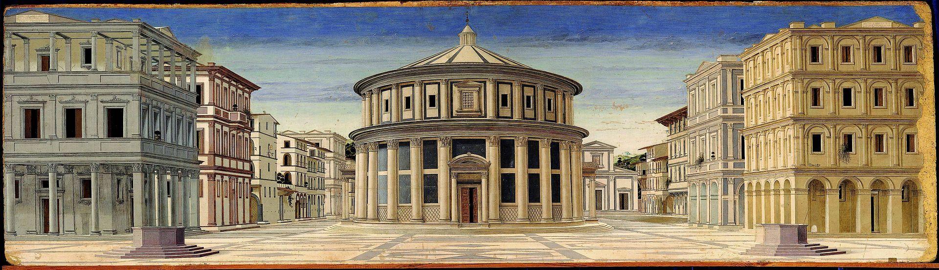 Figura 2. Piero della Francesca ou Francesco di Giorgio Martini, Cidade Ideal (1460). Galleria Nazionale delle Marche, Urbino